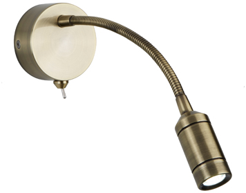 Searchlight 1 Light Switched LED Flexi Arm Wall Light, Antique Brass Finish - 2256AB