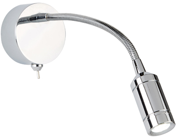 Searchlight 1 Light Switched LED Flexi Arm Wall Light, Chrome Finish - 2256CC