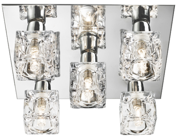Searchlight Ice Cube 5 Light LED Flush Ceiling Light, Chrome Finish With Ice Cube Clear Glass Shades - 2275-5-LED