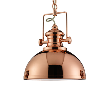 Searchlight Industrial 1 Light Pendant Ceiling Light, Copper Finish With Acrylic Diffuser - 2297CU