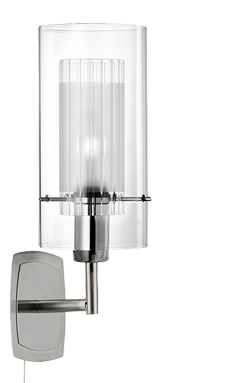 Searchlight Duo Single Switched Wall Light, Polished Chrome Finish - 2300-1