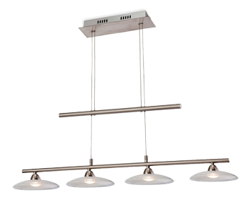 Firstlight Nassau 4 x LED Pendant, Brushed Steel Finish With Glass Shades - 2304BS