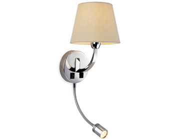 Firstlight Fairmont 2 Light Switched Wall Light With LED Reader, Polished Stainless Steel Finish - 2320PST