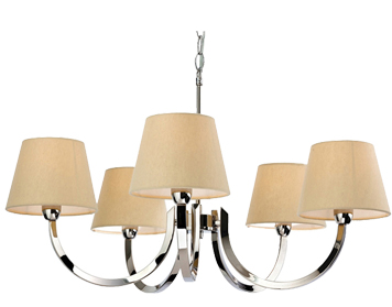 Firstlight Fairmont 5 Light Ceiling Light, Polished Stainless Steel - 2322PST