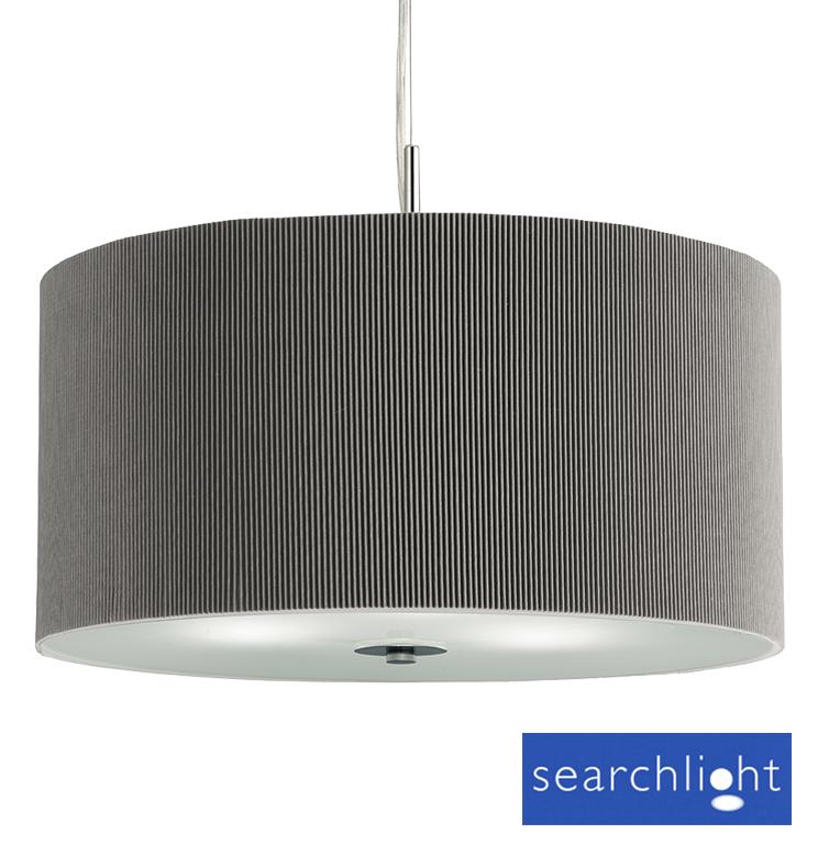 Searchlight Drum Pleat 3 Light Ceiling Pendant Silver