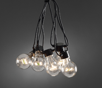 Konstsmide IP44 Set Of 20 Oval Static LED Clear Festoon Lights With Black Cable  - 2379-100EE