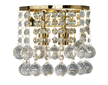 Searchlight Hanna 2 Light Wall Light, Gold Mirrored Finish With Clear Crystal Balls - 2402-2GO