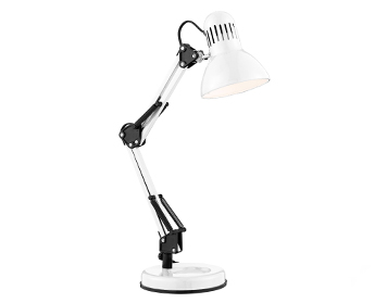 Searchlight 1 Light Adjustable Table/Desk Lamp, Shiny White Finish - 2429WH