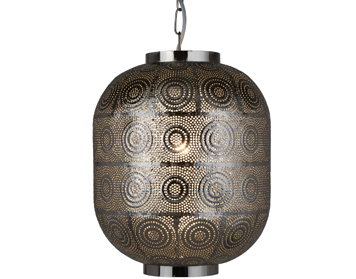 Searchlight Fretwork 1 Light Pendant Ceiling Light, Shiny Nickel Finish - 2431SS