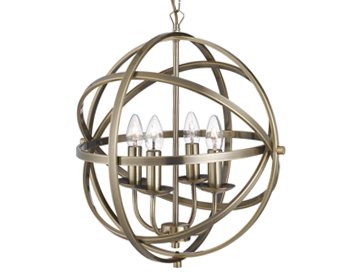 Searchlight Orbit 4 Light Pendant Ceiling Light, Antique Brass Finish - 2474-4AB