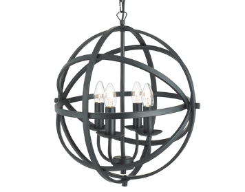 Searchlight Orbit 4 Light Pendant Ceiling Light, Matt Black Finish - 2474-4BK