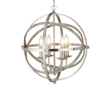 Searchlight Orbit 4 Light Pendant Ceiling Light, Satin Silver Finish - 2474-4SS