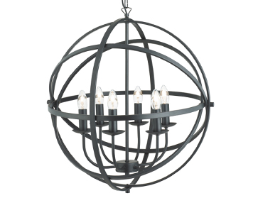 Searchlight Orbit 6 Light Pendant Ceiling Light, Matt Black Finish - 2476-6BK