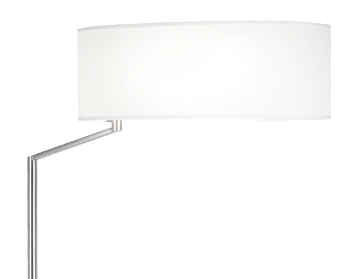Leds C4 Twist Switched Floor Lamp, Satin Nickel Finish With White Fabric Shade - 25-2817-81-14