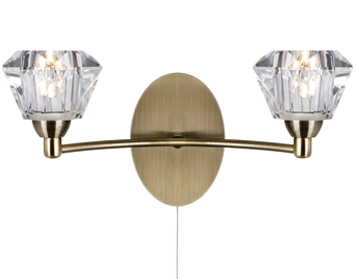 Searchlight Sierra 2 Light Switched Wall Light, Antique Brass Finish - 2632-2AB