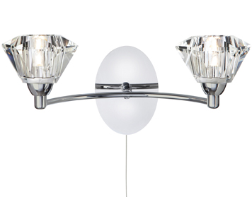 Searchlight Sierra 2 Light Switched Wall Light, Polished Chrome Finish - 2632-2CC