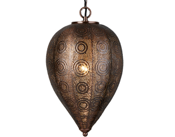 Searchlight Moroccan 1 Light Tapered Pendant Ceiling Light, Antique Copper Finish - 2661CU