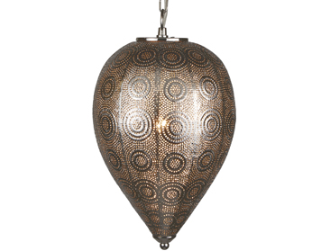 Searchlight Moroccan 1 Light Tapered Pendant Ceiling Light, Shiny Nickel Finish - 2661SS