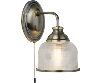 Searchlight Bistro II 1 Light Wall Light, Antique Brass Finish With Halophane Glass Shade - 2671-1AB