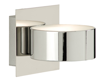 Searchlight 1 Light Wall Light, Chrome Finish With Square Back Plate and Glass Diffuser - 2691CC