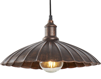Searchlight Umbrella 1 Light Pendant Ceiling Light, Bronze Finish With Scalloped Shade - 2715BZ