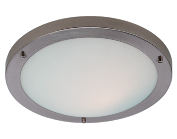 Firstlight Rondo Flush Fitting Ceiling Light, Brushed Steel Finish With Opal Glass - 2740BS