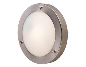 Firstlight Rondo Flush Fitting Ceiling/Wall Light, Brushed Steel Finish With Opal Glass - 2745BS
