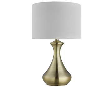 Searchlight 1 Light Touch Table Lamp, Antique Brass Finish With Cream Fabric Shade - 2750AB