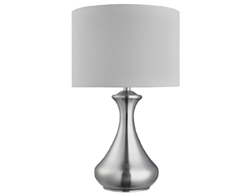Searchlight 1 Light Touch Table Lamp, Satin Silver Finish With Cream Fabric Shade - 2750SS