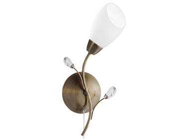 Searchlight Gardenia 1 Light Switched Wall Light, Antique Brass Finish - 2761-1AB