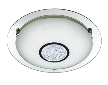 Searchlight Small Flush LED Ceiling Light, Polished Chrome Finish With White Glass Shade & Inner Crystal Decoration - 2773-31