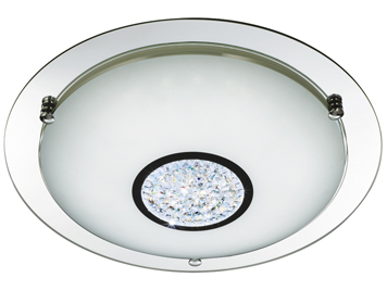 Searchlight Large Flush LED Ceiling Light, Polished Chrome Finish With White Glass Shade & Inner Crystal Decoration - 2773-41