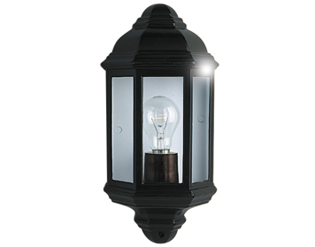 Searchlight 1 Light Outdoor Flush Wall Light, Black Aluminium Finish - 280BK