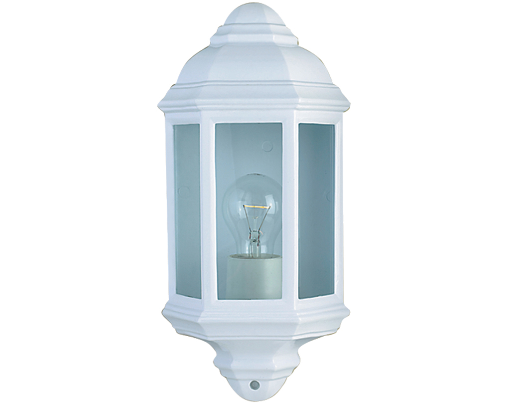White outdoor wall lights from easy lighting searchlight ip44 outdoor half lantern white aluminium 280wh aloadofball Gallery