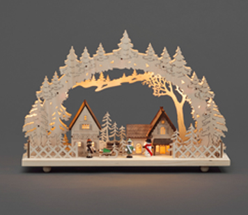 Konstsmide Indoor White Christmas Scene And 10 Warm White LED's- 2827-100EE