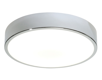 Endon Lipco Round Flush Ceiling Light, Chrome Plate & Matt White Acrylic Finish - 28506