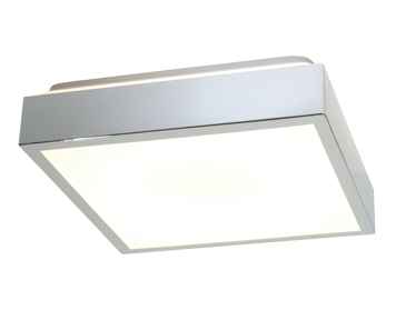 Endon Cubita Square Flush Ceiling Light, Chrome Plate & Matt White Acrylic Finish - 28679