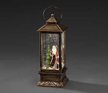 Konstsmide Indoor Water Filled Lantern with Santa and Warm White LED's - 2888-000