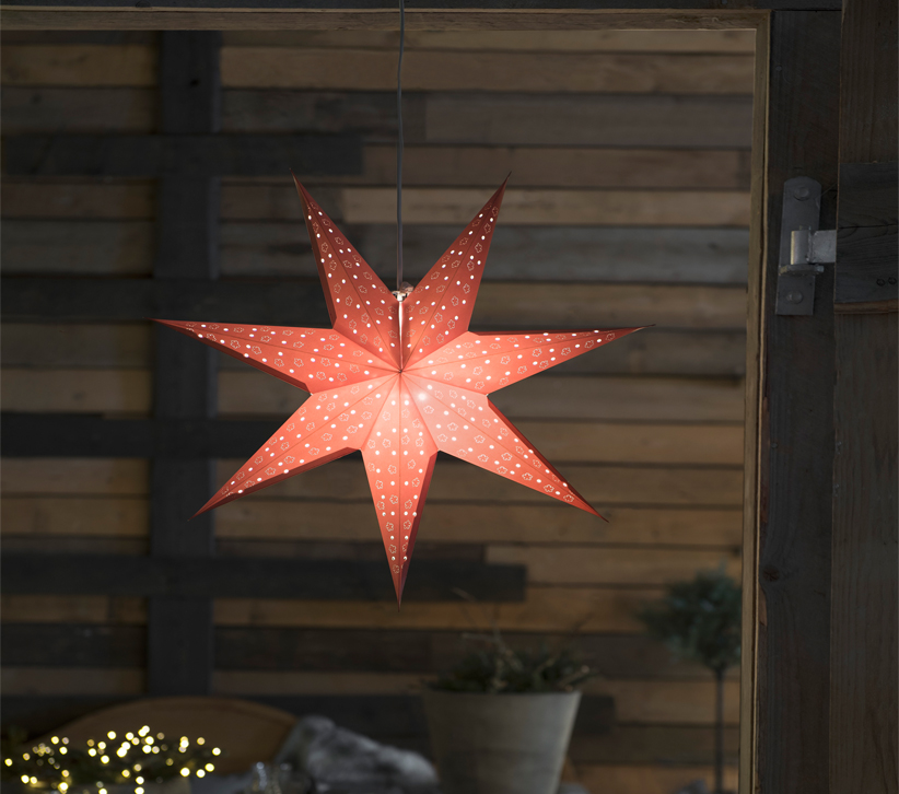 Konstsmide 7 Point Paper Star Ceiling Light (600mm), Red - 2902-500 None
