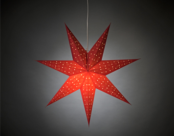 Konstsmide 7 Point Paper Star Ceiling Light (600mm), Red - 2902-500