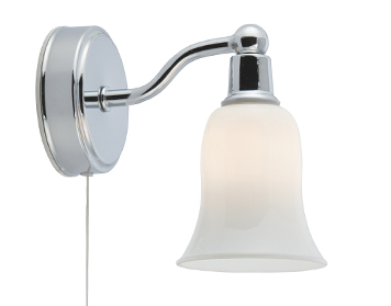 Searchlight Belvue 1 Light Switched Bathroom Wall Light, Chrome Finish With Opal Glass Bell Shade - 2931-1CC-LED