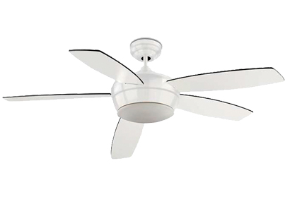 Leds C4 'Samal' IP20 Remote Controlled Ceiling Fan, Matt White Steel Finish & Opal Glass Diffuser - 30-0068-14-F9