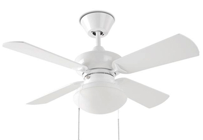 Leds C4 'Bouvet' IP20 Pull Chain Ceiling Fan, Matt White Steel Finish & Opal Glass Diffuser - 30-1854-CF-F9