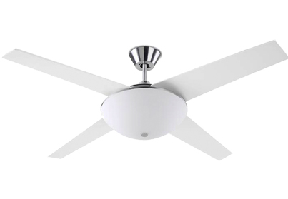 Leds C4 'Aukena' IP20 Remote Controlled Ceiling Fan, Satin Nickel & Frosted Glass Diffuser - 30-1965-81-E9