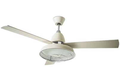 Leds C4 'Vintage' IP20 Remote Controlled Ceiling Fan With Central Light, Old White Finish - 30-3248-16-E9