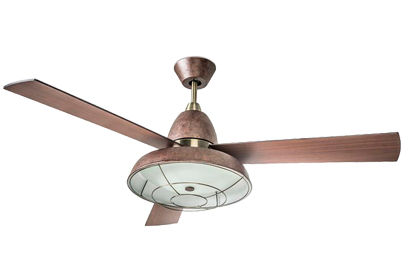 Leds C4 'Vintage' IP20 Remote Controlled Ceiling Fan With Central Light, Rusty Brown Finish - 30-3248-CG-E9