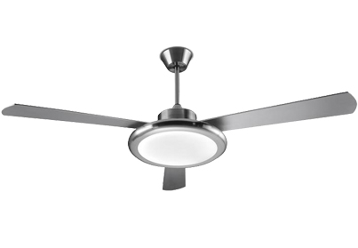 Leds C4 'Bahia' IP20 Remote Controlled Ceiling Fan, Satin Nickel Finish & Opal Glass Diffuser - 30-4355-81-M1