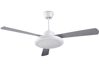 Leds C4 'Bahia' IP20 Remote Controlled Ceiling Fan, Matt White Finish & Opal Glass Diffuser - 30-4355-CF-M1