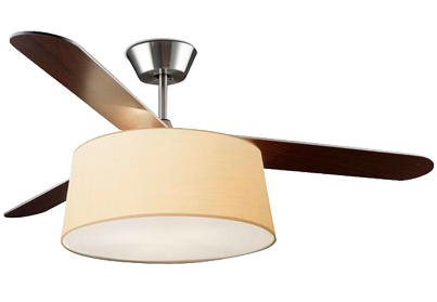 Leds C4 'Belmont' IP20 Remote Controlled Ceiling Fan, Satin Nickel Finish - 30-4357-81-82