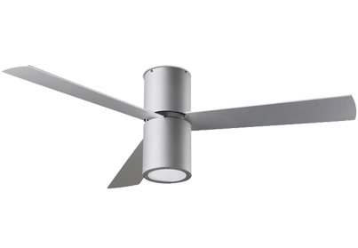 Leds C4 'Formentera' IP20 Remote Controlled Ceiling Fan, Grey Finish & Opal Acrylic Diffuser - 30-4393-N3-M1